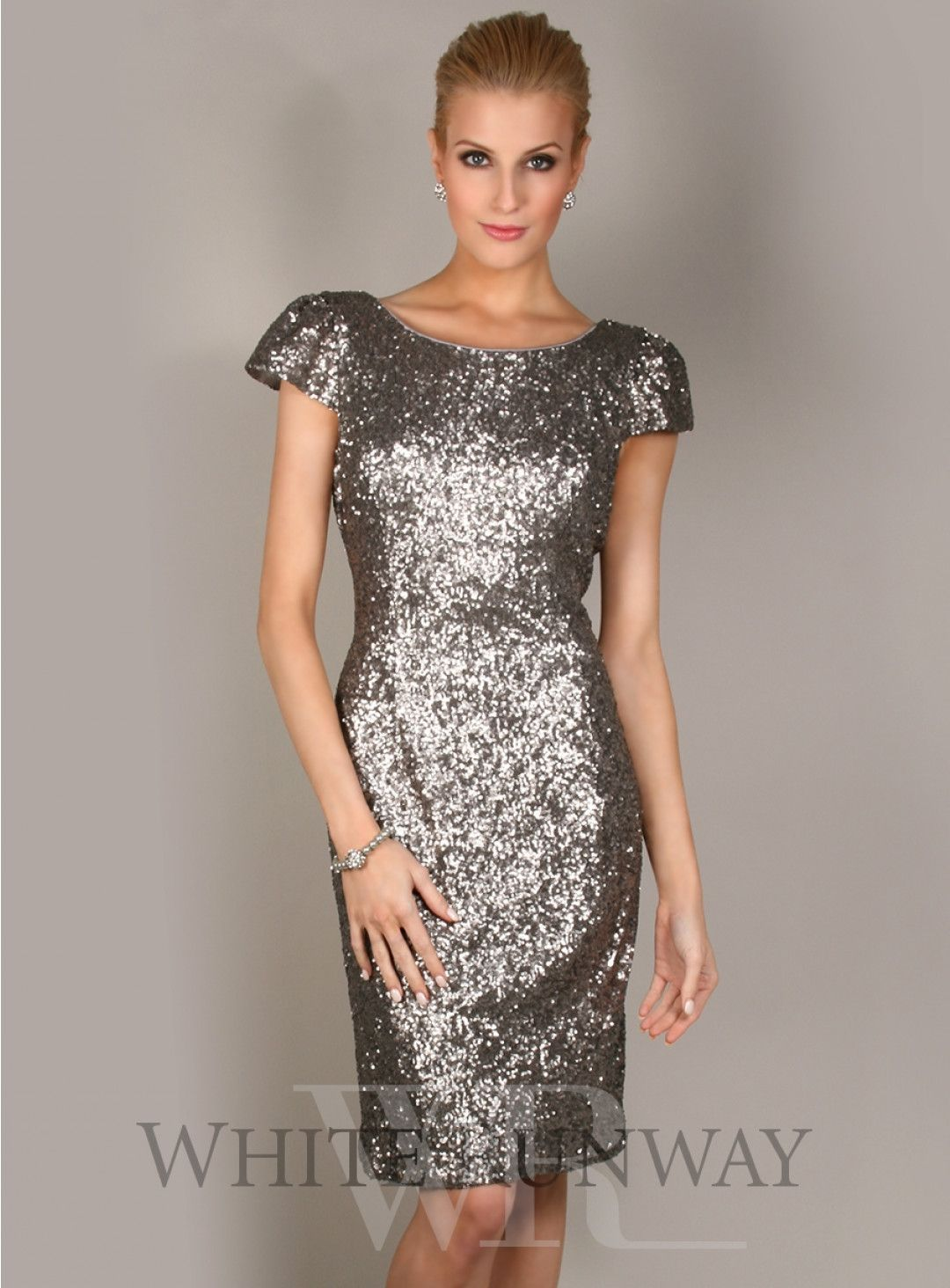 Sequinned Cap Cocktail Dress. Stunning cocktail length sequinned ...