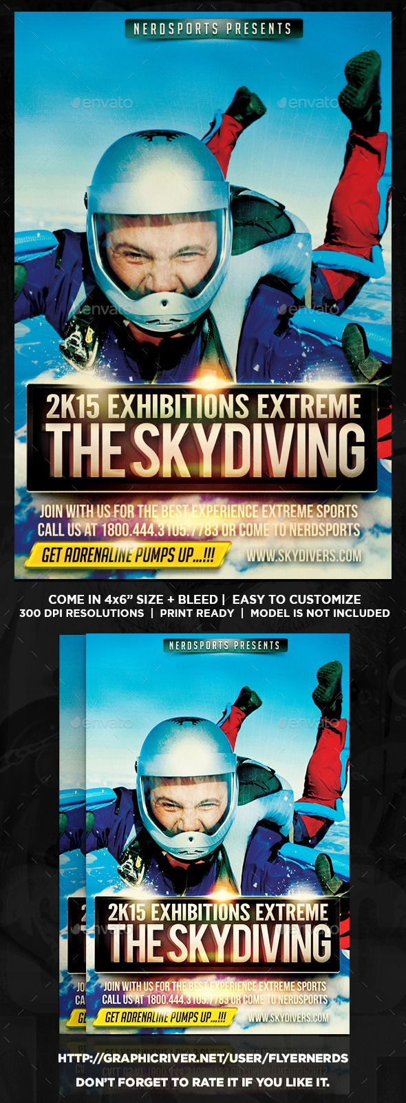 Skydiving Sports Flyer  Flyer Template Fonts And Business Flyer