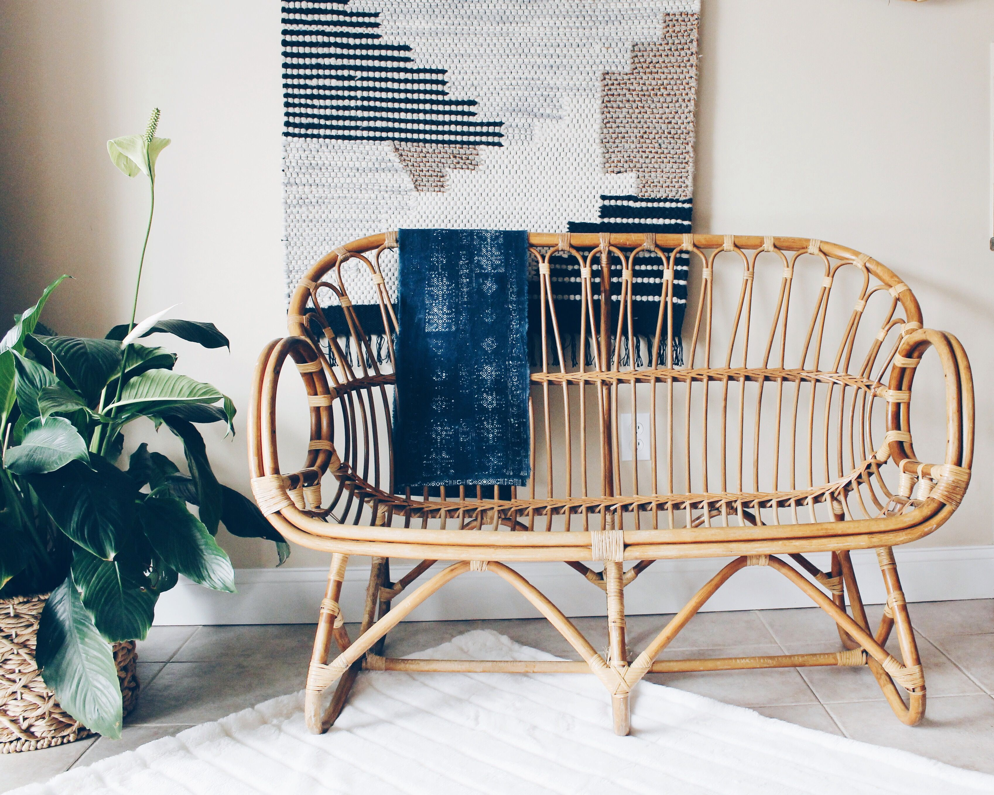 Franco Albini Style Rattan Settee Rattan Loveseat Rattan Sofa  # Muebles Hitters