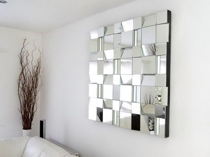 Futuristic Abstract Wall Mirror In Modern Living Room
