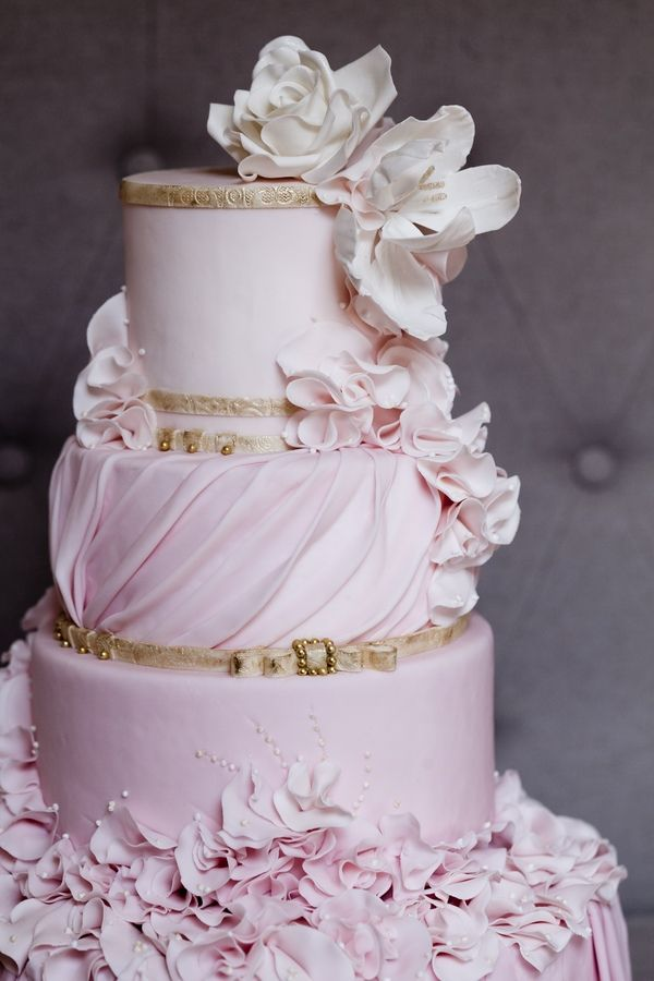 wedding cakes white and light pink pink and gold wedding cake inspiration gum paste flowers 25946