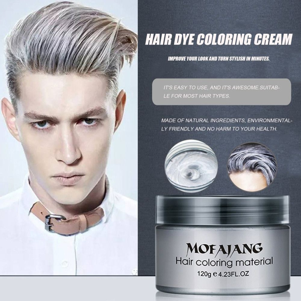 Mofajang Salon Hair Styling Pomade Silver Ash Grandma Grey Hair Waxes Temporary Disposable Hair Dye Coloring Mud Cream Unisex Grey Hair Wax Hair Wax Professional Hair Dye