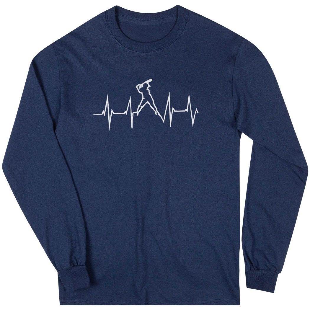 Softball Long Sleeve T-Shirt - Heartbeat Batter | Navy