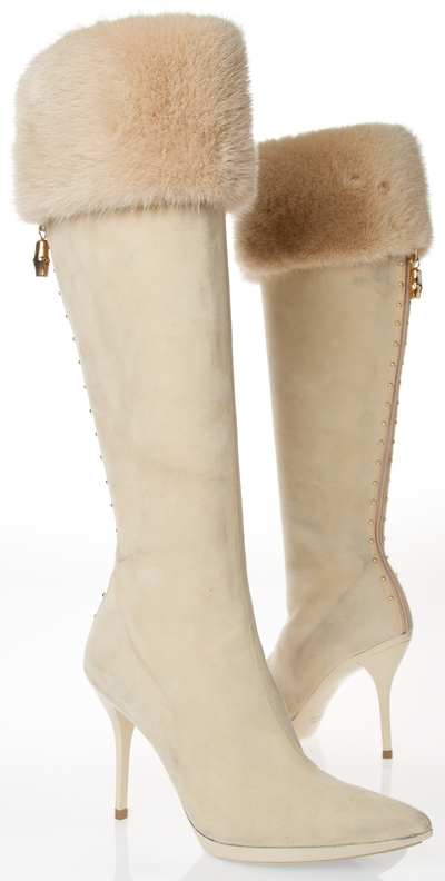 Gucci Cream Suede High Heel Boots With Fur Cuff This