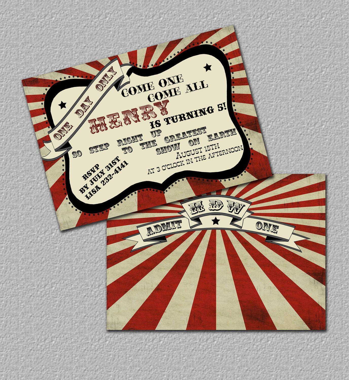 Printable Vintage Carnival Invitation Or Circus Invitation