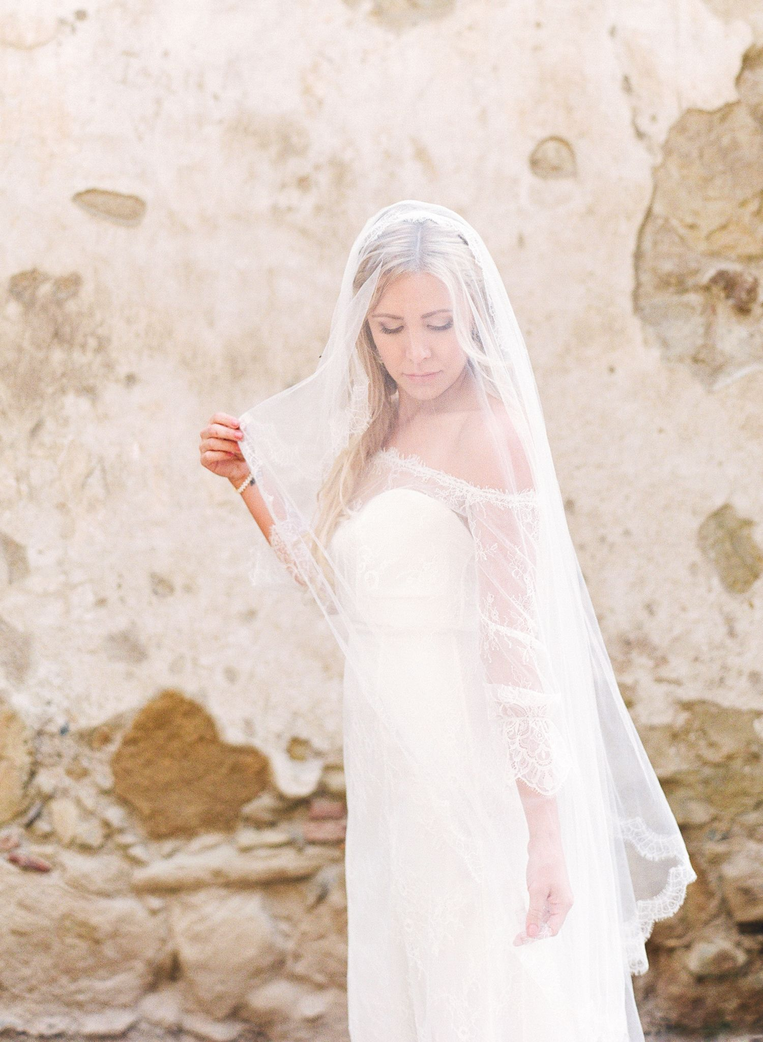 san juan capistrano mission wedding, bridal portrait on film, bride ...