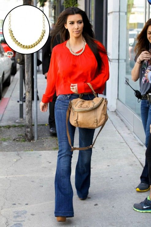 6b13fc9cc1 Love the red top with flared jeans
