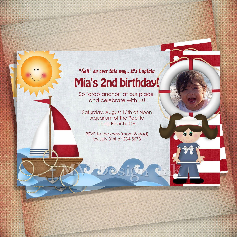 Nautical Sailboat Birthday Party Invitation For Boy Or Girl - Nautical birthday invitation ideas