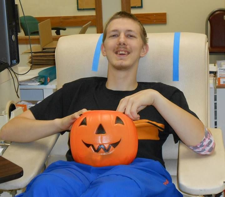 "Congratulations to Dennis Snyder on his 13th lifetime donation at Springfield-CBC. After donation, he replenished his blood sugar with some goodies from the ""treat"" pumpkin. #give blood"