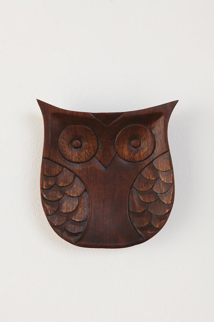 Wise idea sweet carved mango wood owl richly stained and given