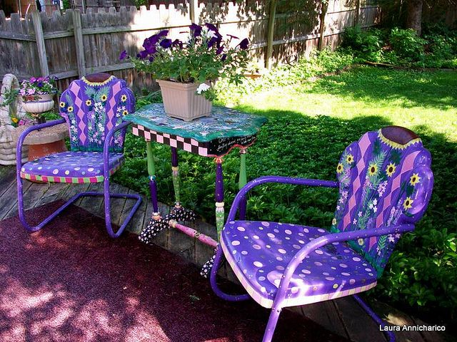 Purple chairs for the patio