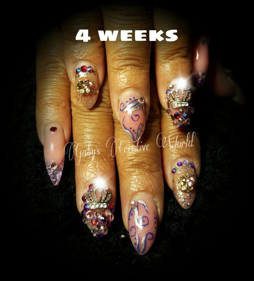 4 Weeks Old Acrylic Nails Acrylic Nails Nail Art Nails