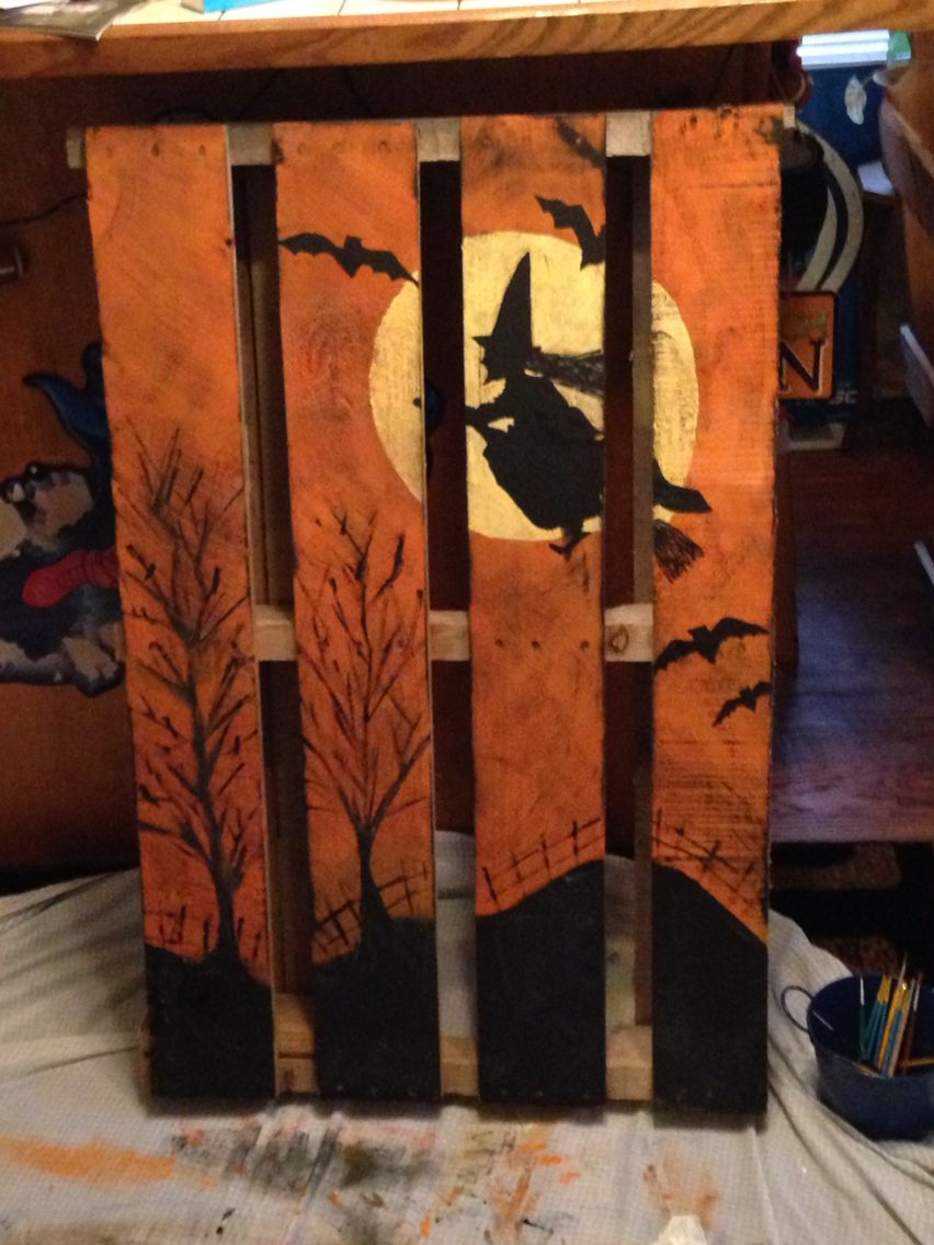 Witch pallet fall pallet paintings pinterest pallets for Diy wood crafts