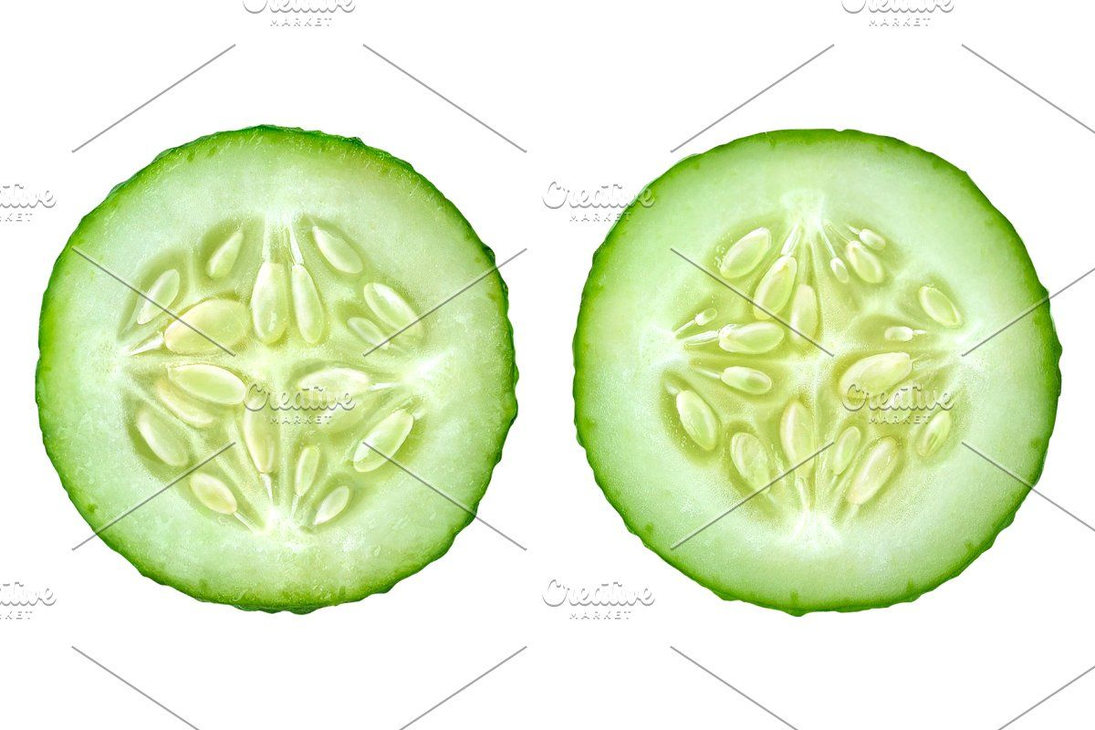 Two Slices Of Cucumber Photo Cutout Cucumber White Background