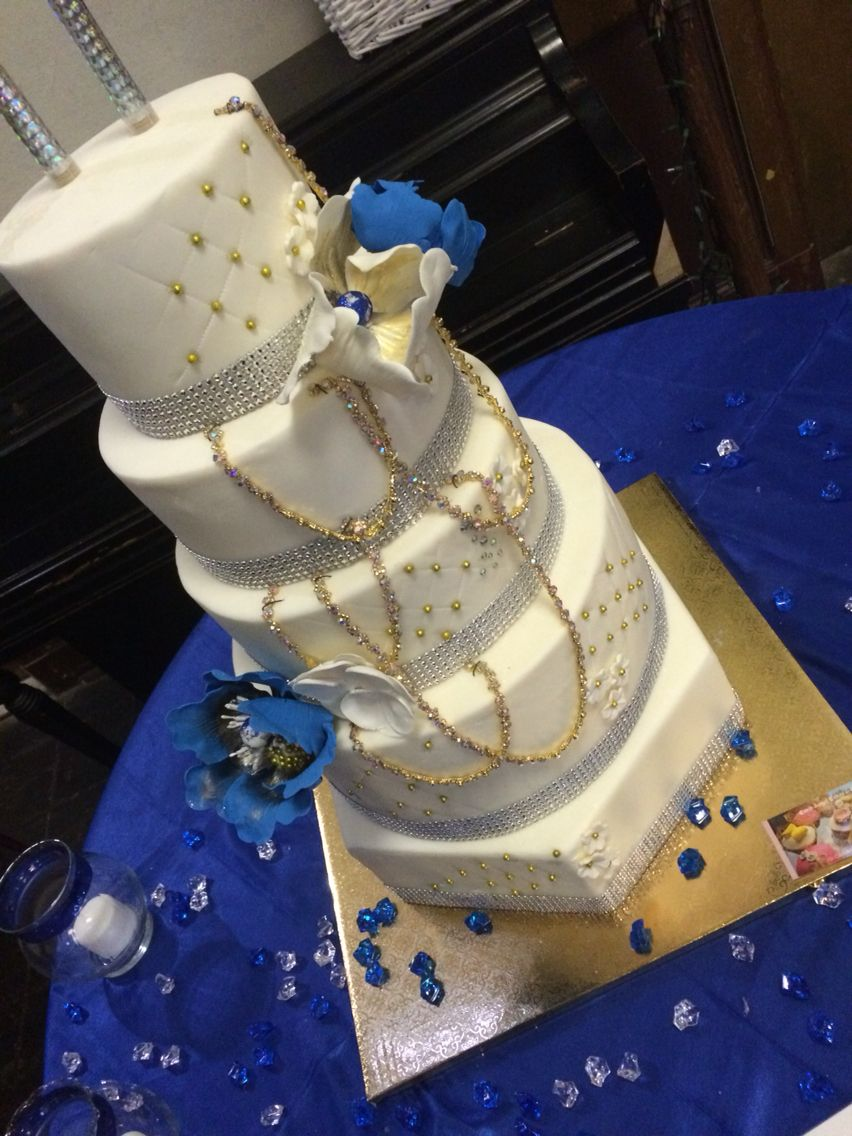 Wedding decorations with royal blue  Royal blue bling cake  Let them eat CAKE  Pinterest  Eat cake and