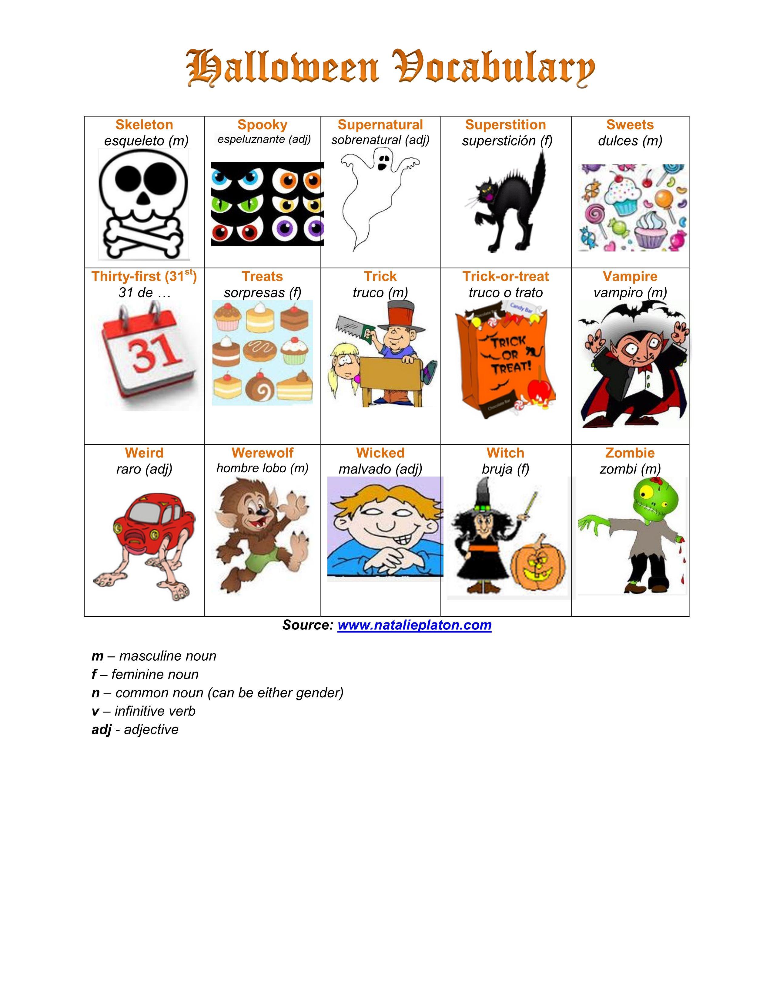 Halloween Vocabulary Part 3 Halloween Spanish Vocabulary