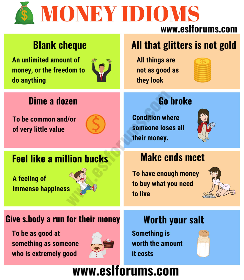 20 Interesting Money Idiom In English Esl Forum 2020 Learn Word Idioms Essay On All That Glitter I Not Gold
