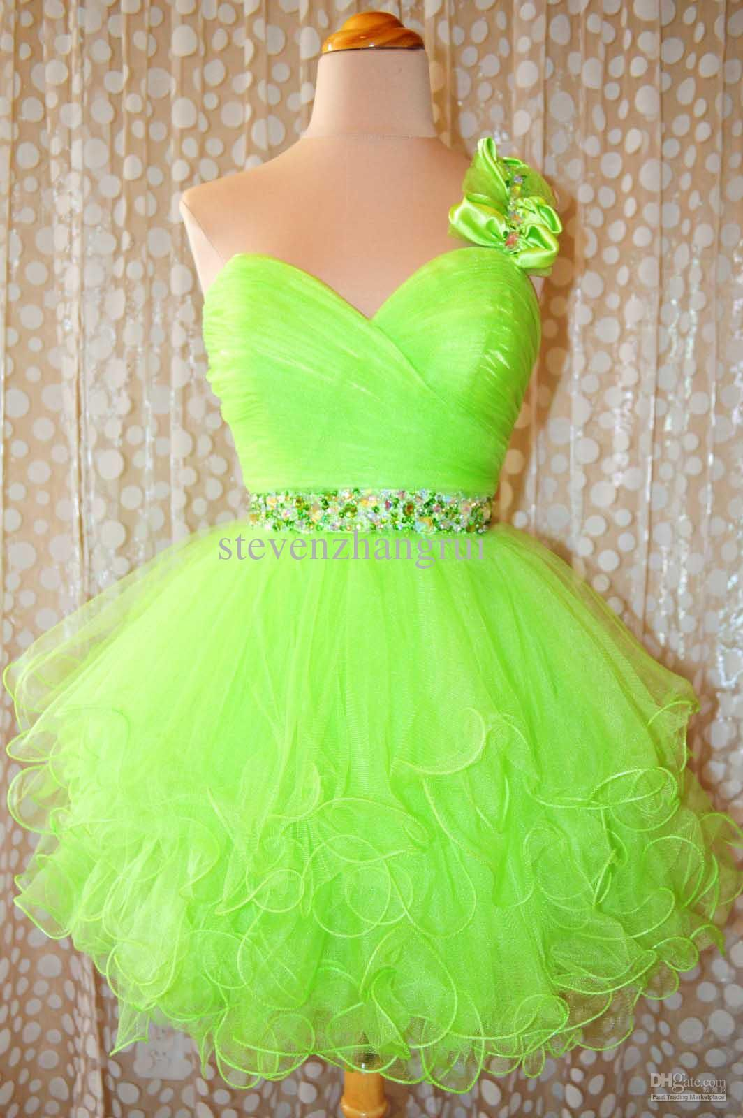 New style sexy one shoulder lime neon short ball gown party prom
