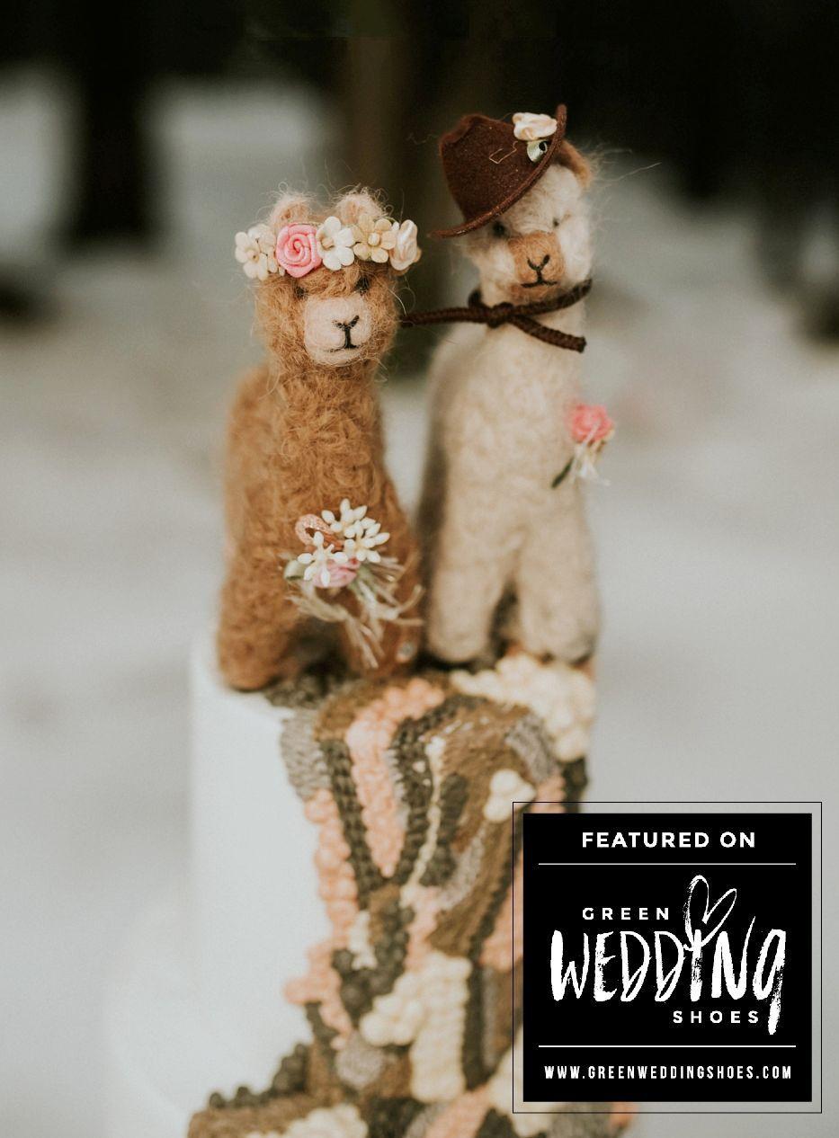 Alpaca bride groom wedding cake topper decoration alpaca