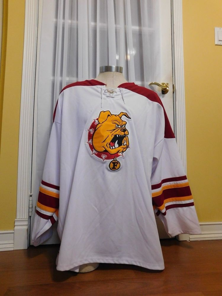 cff47e7f9 Up for sale is this Pre-owned White Athletic Knits Ferris State Bulldogs Hockey  Jersey Size 2XL. Jersey has black marks on the sleeve and on the back.