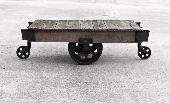 Vintage Industrial Factory Cart Coffee Table by brandMOJOinteriors 48L x 27W x 16.5H $1000.00