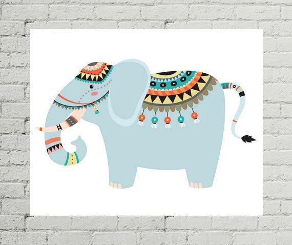 Elephant Art Print Nursery Decor Baby Shower Artwork Tribal