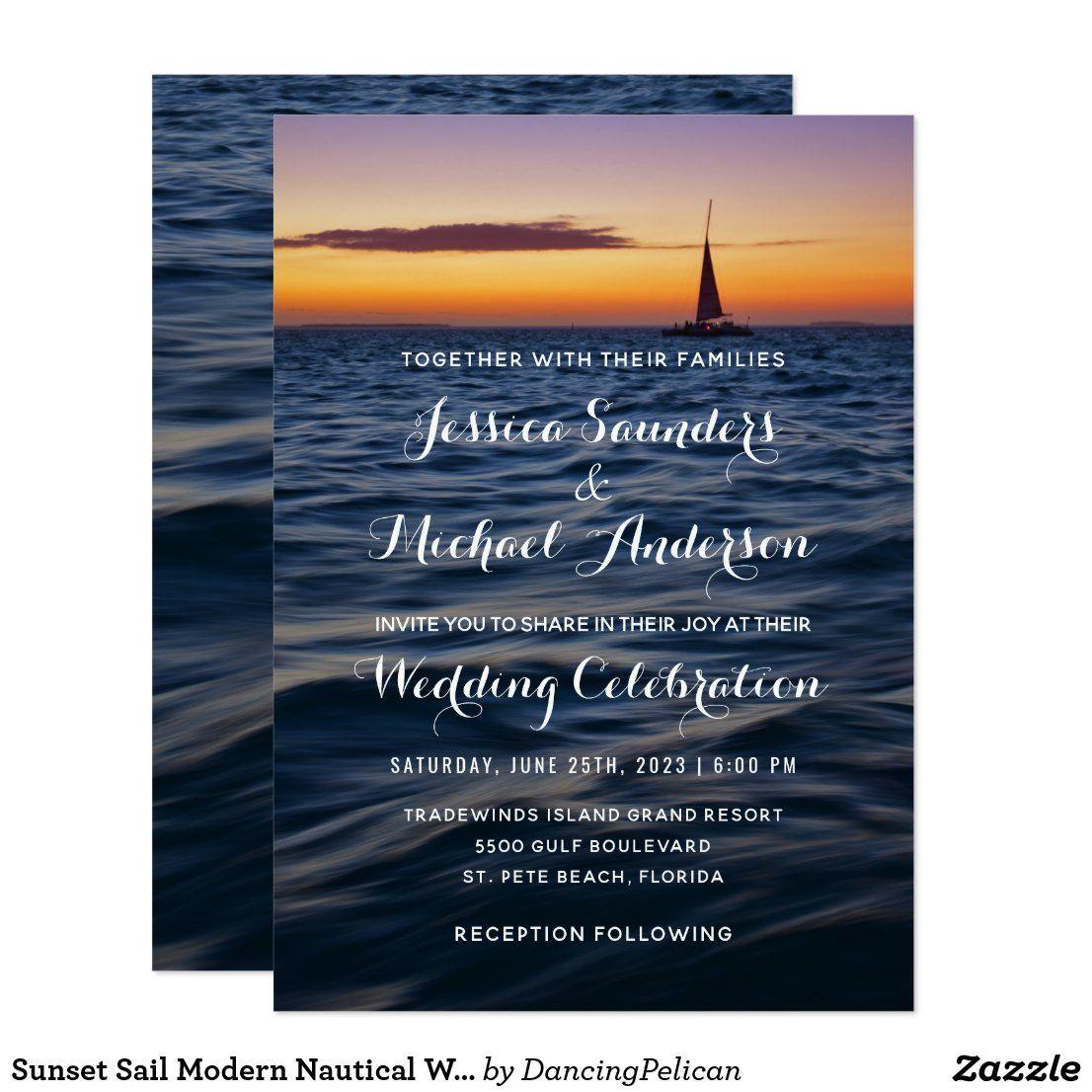 Sunset Sail Modern Nautical Wedding Invitation Zazzle