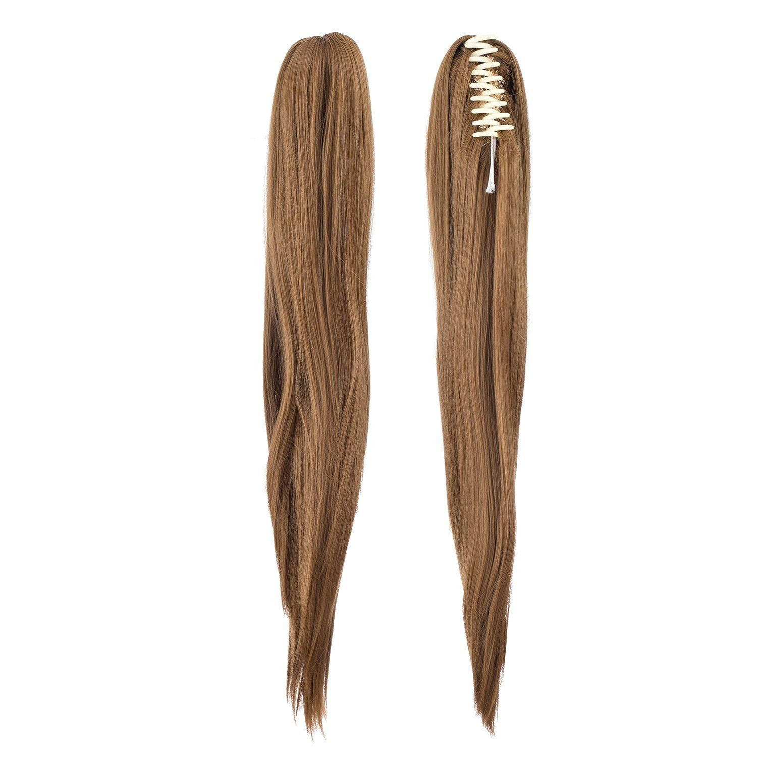 Swacc Straight Curly Claw Clip Ponytail Extension Synthetic Clip