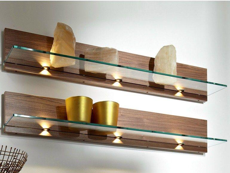 tag re murale en bois et verre tag re murale en noyer. Black Bedroom Furniture Sets. Home Design Ideas