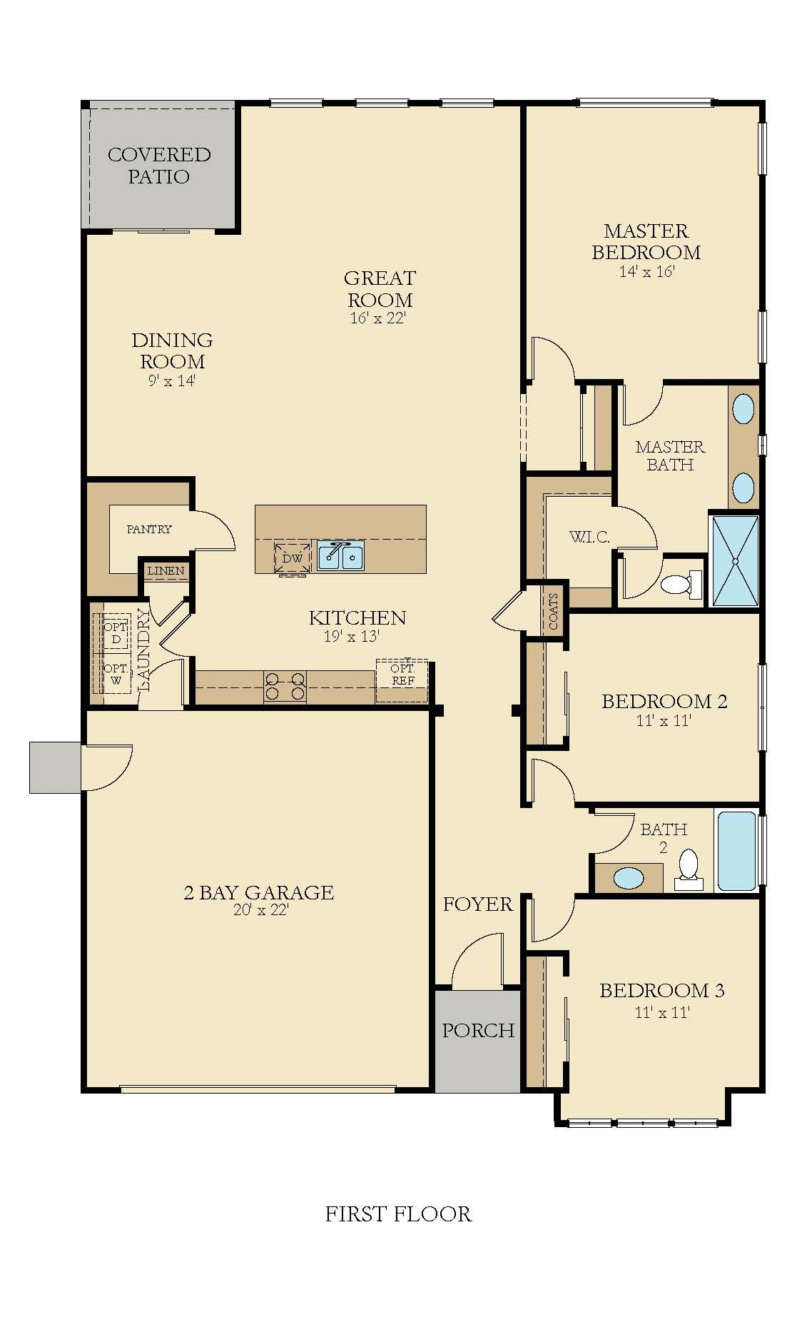 Simple Floorplan With 3 Bedrooms 2 Bathroom Foyer And Walk In Pantry New House Plans California Homes New Home Construction