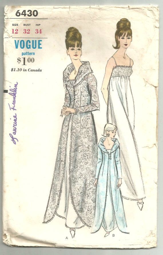 df04bf0fe2 Vintage 60s Vogue 6430 Misses Nightgown and Robe- Peignoir Set Sewing  Pattern…