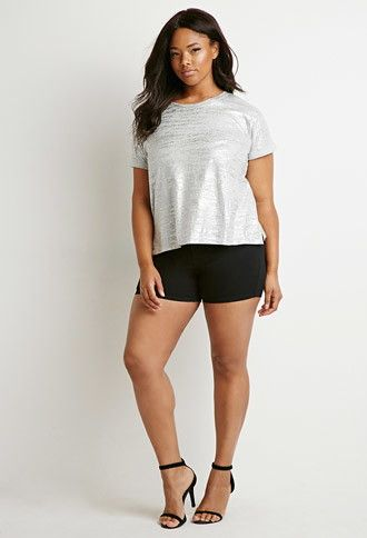 Metallic Heathered Tee | Forever 21 PLUS - 2000140886