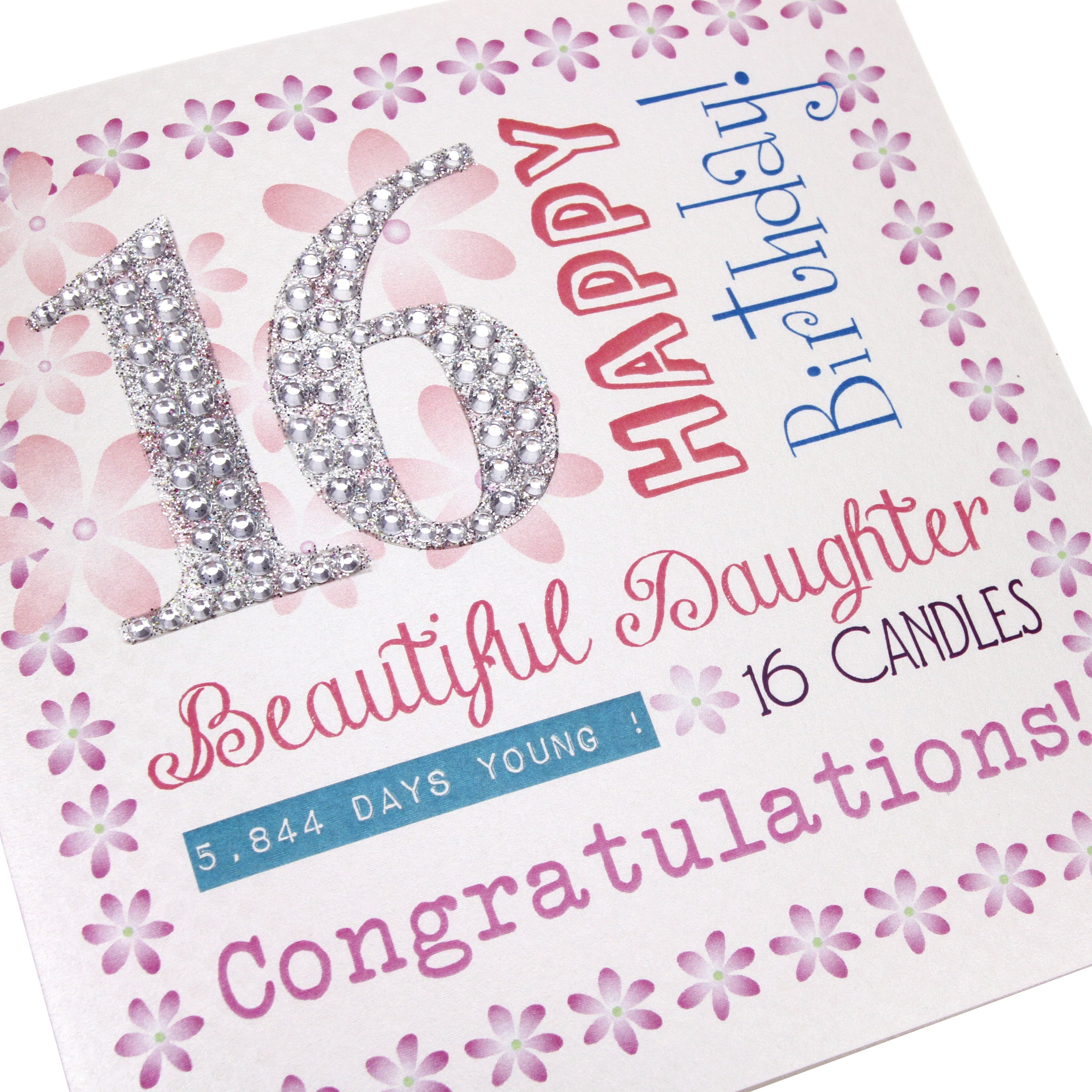 Handmade 16th Birthday Card Sweet 16 ink Purple Pretty Glitter