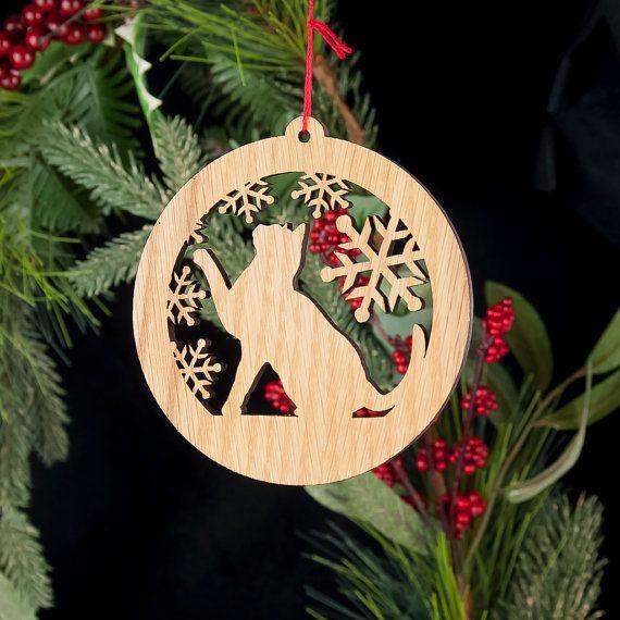 Personalised Cat Christmas Decoration Tree Bauble Cat Ornament Oak Veneer