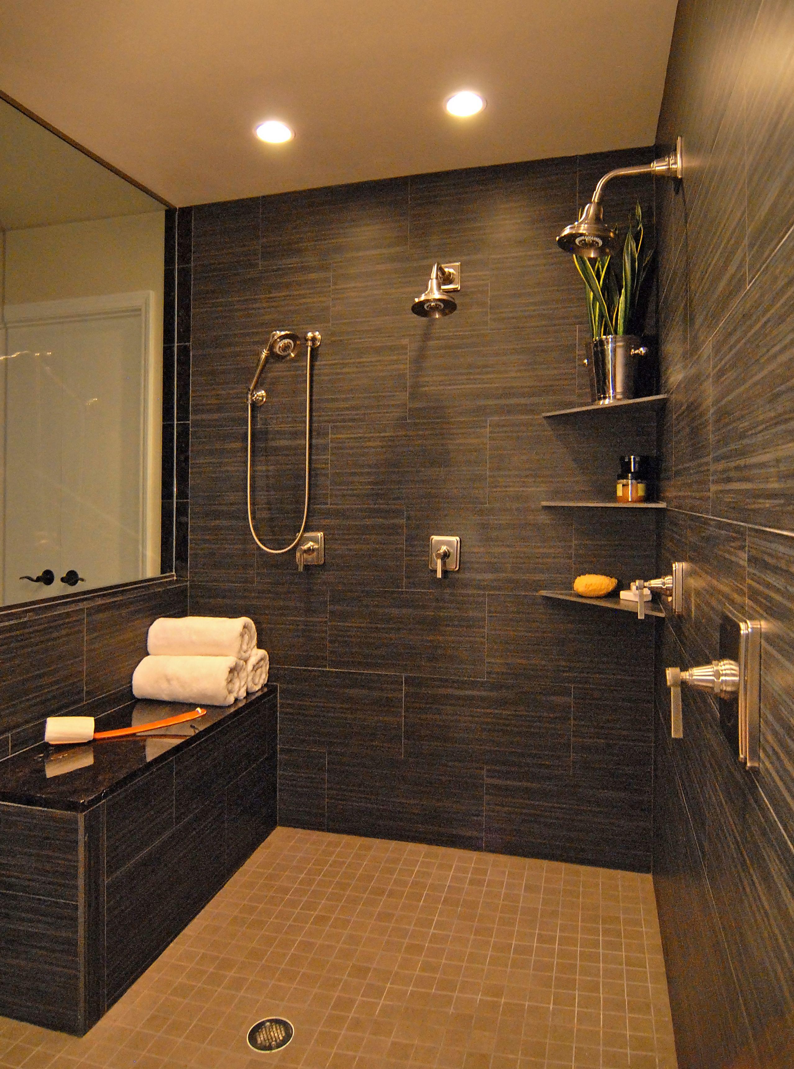Double Shower Granite Bench Kohler Pinstripe Fixtures