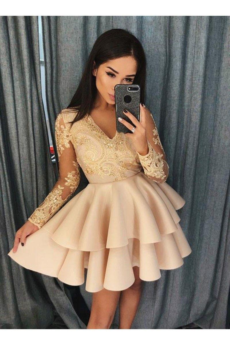 Champagne V Neck Lace Short Prom Dress Long Sleeve Evening Dress N11097 Evening Mini Dresses Prom Dresses Long With Sleeves Long Sleeve Evening Dresses [ 1200 x 800 Pixel ]