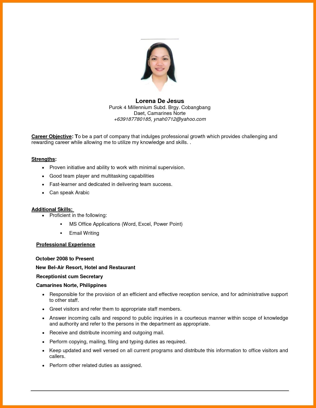 Resume Example With Objective Andriblog Design In 2020 Career Objectives For Resume Job Resume Examples Career Objective Examples