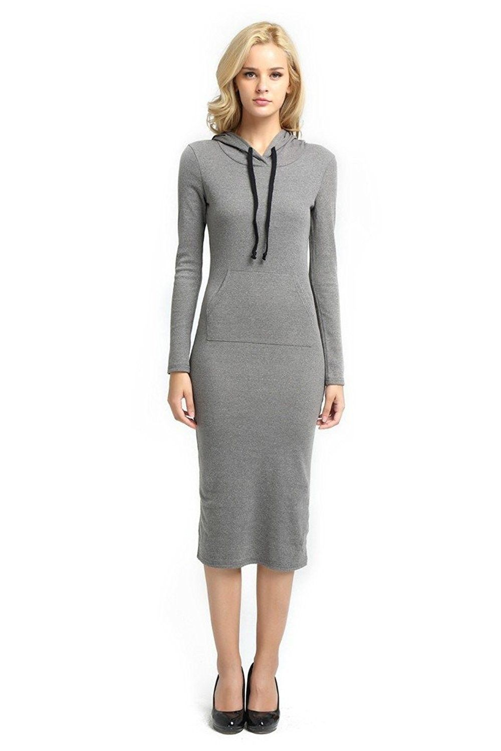 Hoodie dress long sleeve bodycon with kangaroo pockets for women