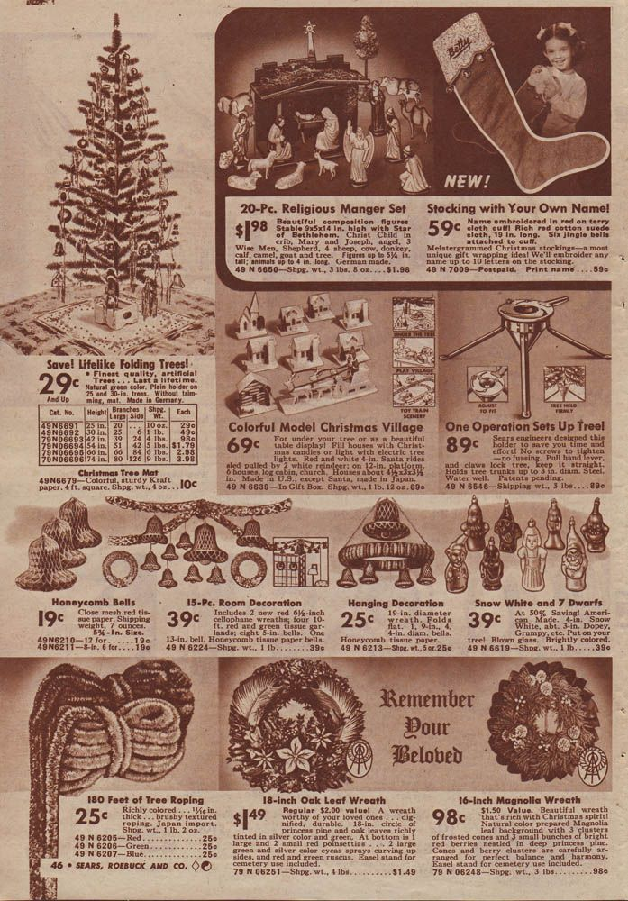 christmas decorations in sears christmas catalog 1940 - Christmas Decoration Catalogs