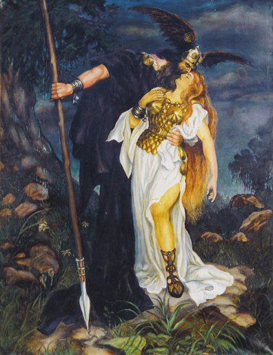 """ Amongst various other events, the Völva mentions Odin's involvement in the Æsir-Vanir War, the oedipism of Odin's eye at Mímir's Well, the death of his son Baldr. She describes how Odin is slain by the wolf Fenrir at Ragnarök, the subsequent avenging of Odin and death of Fenrir by his son Víðarr, how the world disappears into flames and, yet, how the earth again rises from the sea. She then relates how the surviving Æsir remember the deeds of Odin."""