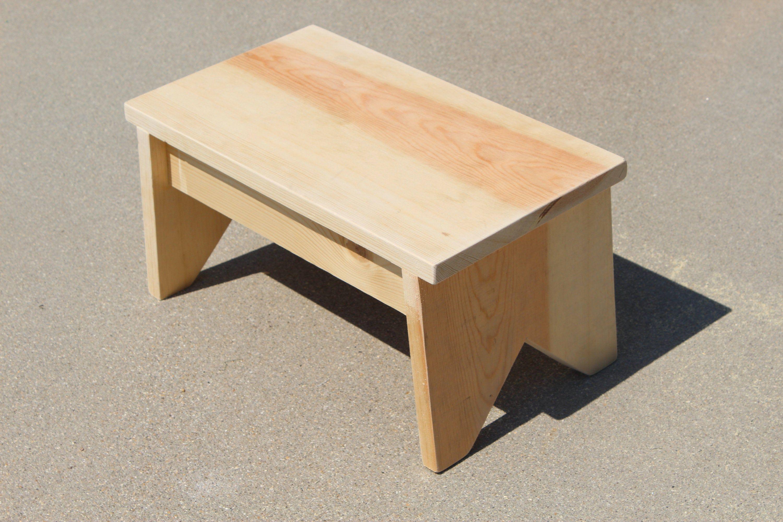 Handmade Primitive Wooden Step Stool Pine Unfinished Footstool Etsy In 2020 Wooden Step Stool Wooden Stools Diy Step Stool
