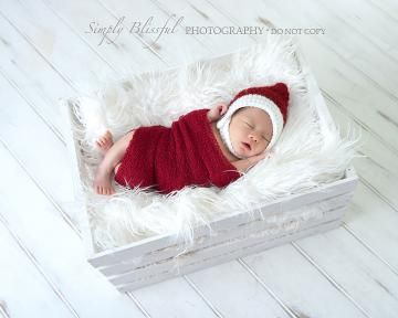 Newborn Christmas Photography Prop Set Pixie Hat Posing Fur and Stretch wrap by kathyneilsen for $50.00