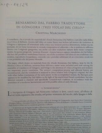 """Beniamino Dal Fabbro traduttore di Góngora (""""Tres víolas del cielo"""") / Cristina Marchisio - Pisa : Fabrizio Serra, 2014"""