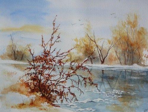 aquarelle abby paysage neige hiver arbres froid village tang lac gel glace aquarelles. Black Bedroom Furniture Sets. Home Design Ideas
