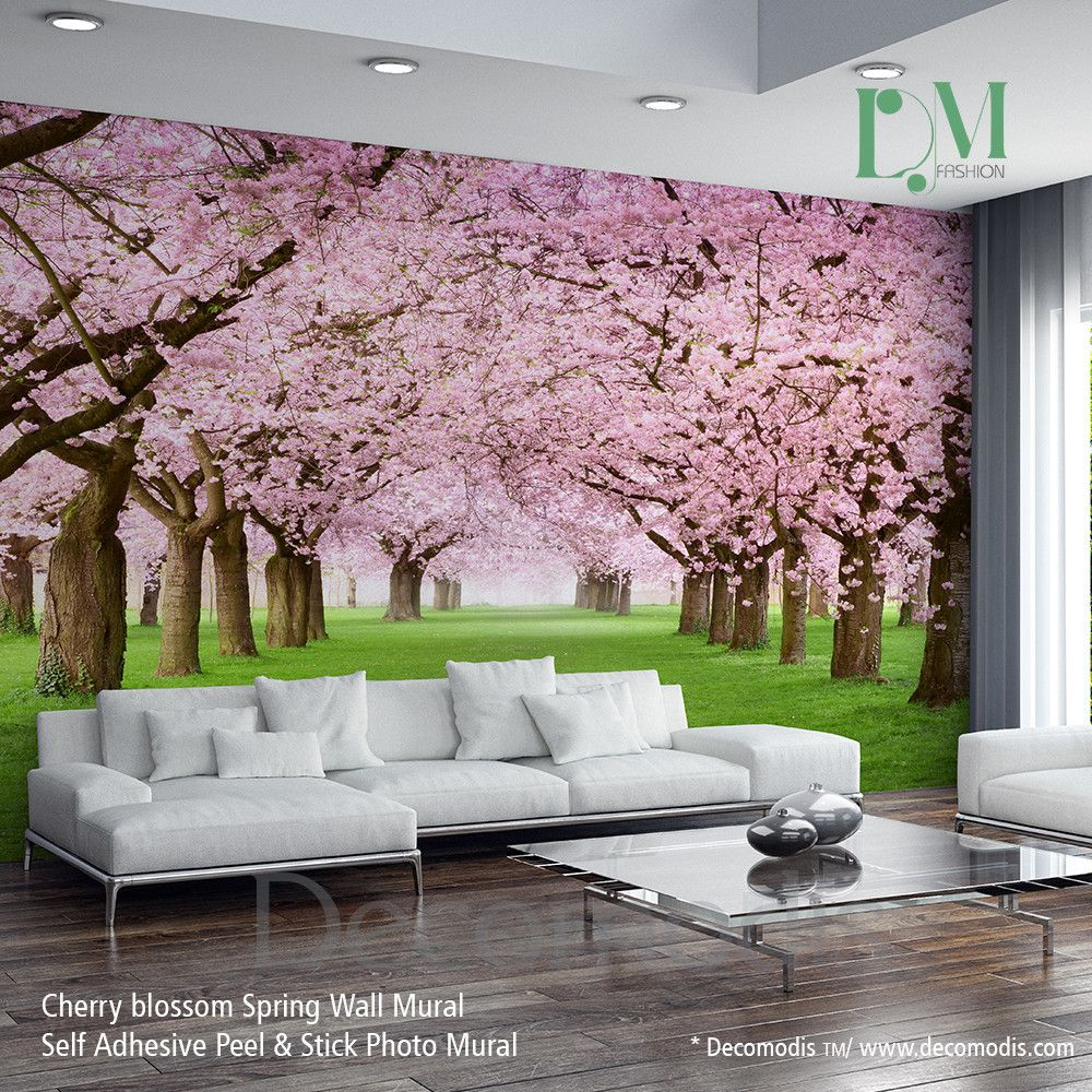nature wall mural chery blossom pathway on a green lawn cherry nature wall mural chery blossom pathway on a green lawn cherry blossom photo mural self