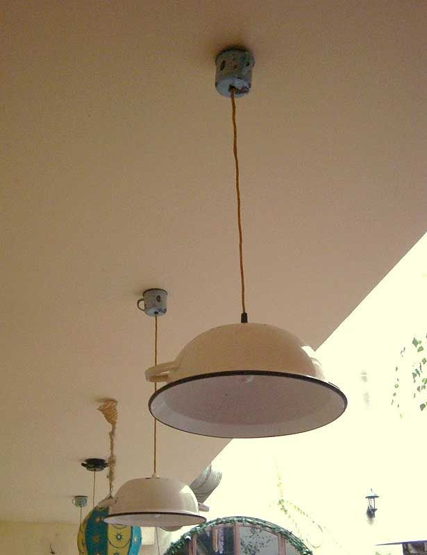 Bowls turned upside down make the perfect DIY pendant light for the kitchen