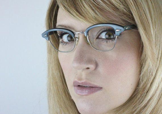 Vintage 50s Damaged Slate Blue Horn 12K Gold Filled Cat Eye Eyeglasses  Shopping for Glasses