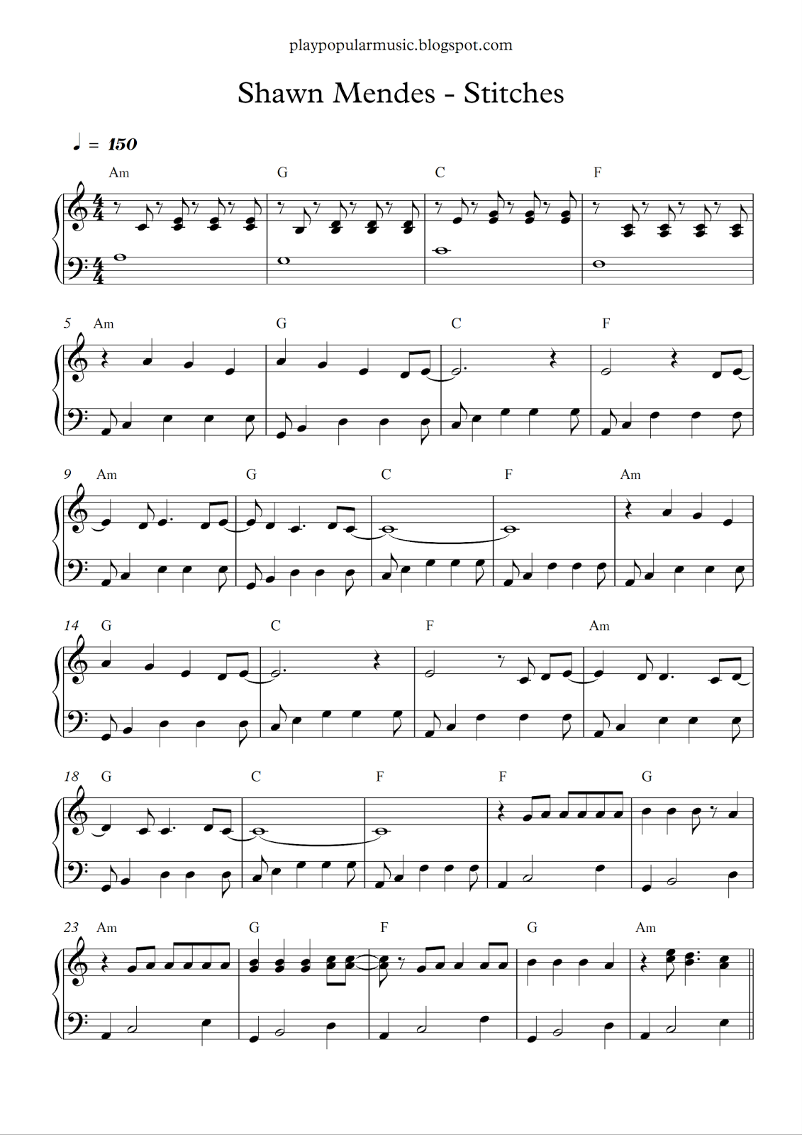 Free piano sheet music: Shawn Mendes - Stitches pdf N ow