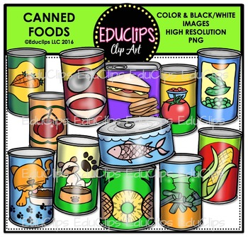 Canned Foods Clip Art Bundle Food Clips Canned Food Clip Art