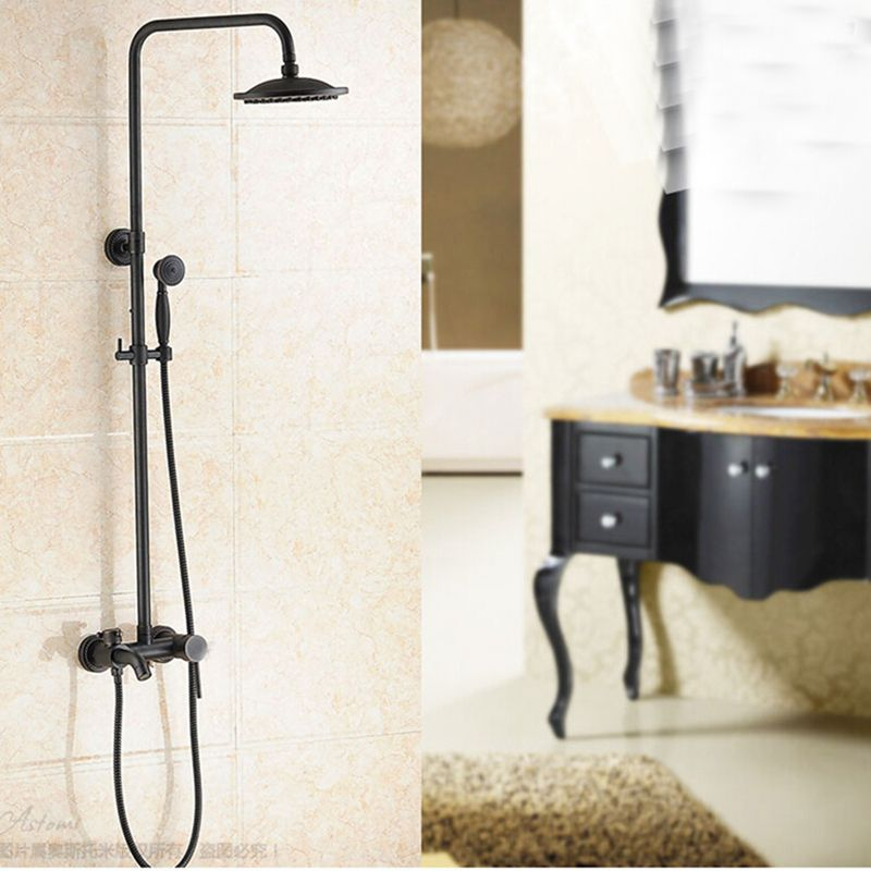 Glen Oil Rubbed Bronze Wall Mounted Rainfall Shower Head With Handheld Shower Tub Spout Funitic Black Shower Rainfall Shower Head Shower Heads